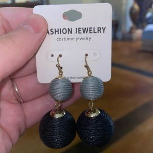 Black grey and gold earrings